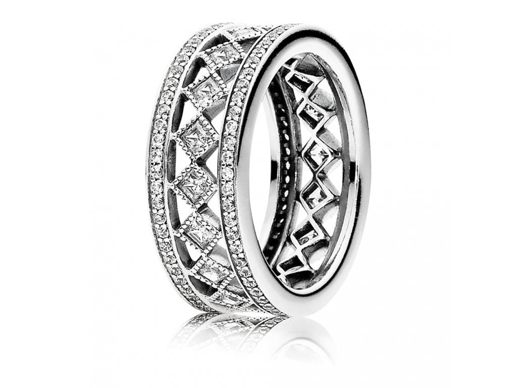 Strieborný fascinujúci prsteň štýl Pandora so zirkónmi (veľkosť prsteňa 56)