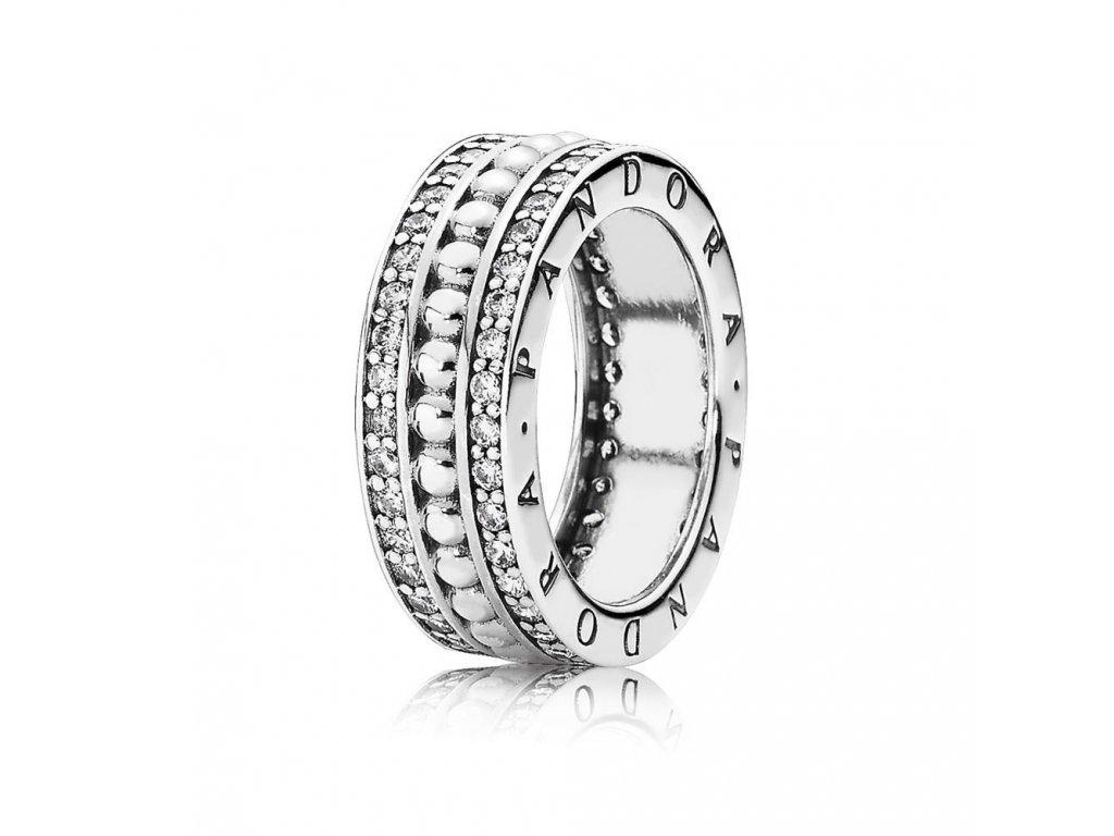 Strieborný exkluzívny prsteň štýl Pandora so zirkónmi Navždy Pandora (veľkosť prsteňa 56)
