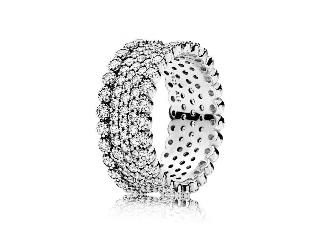 Strieborný exkluzívny prsteň štýl Pandora s drobnými zirkónmi (veľkosť prsteňa 56)