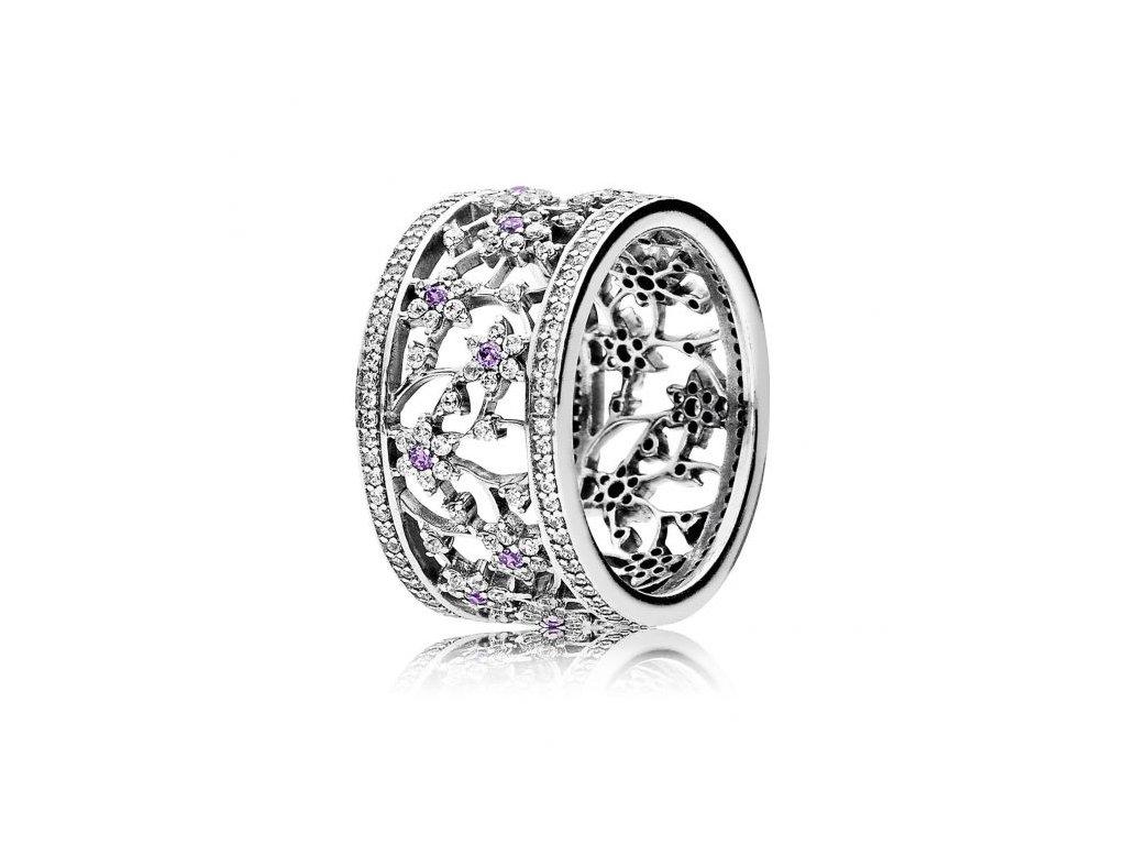 Strieborný exkluzívny prsteň štýl Pandora Nezabudni na mňa (veľkosť prsteňa 56)