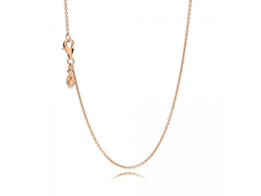 Strieborná retiazka / náhrdelník štýl Pandora ružovo-zlatý jednoduchý 45 cm, 60 cm, 75 cm (Dĺžka 60 cm)