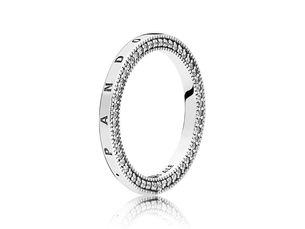Strieborný prsteň štýl Pandora srdcia Pandora so zirkónmi (veľkosť prsteňa 52)