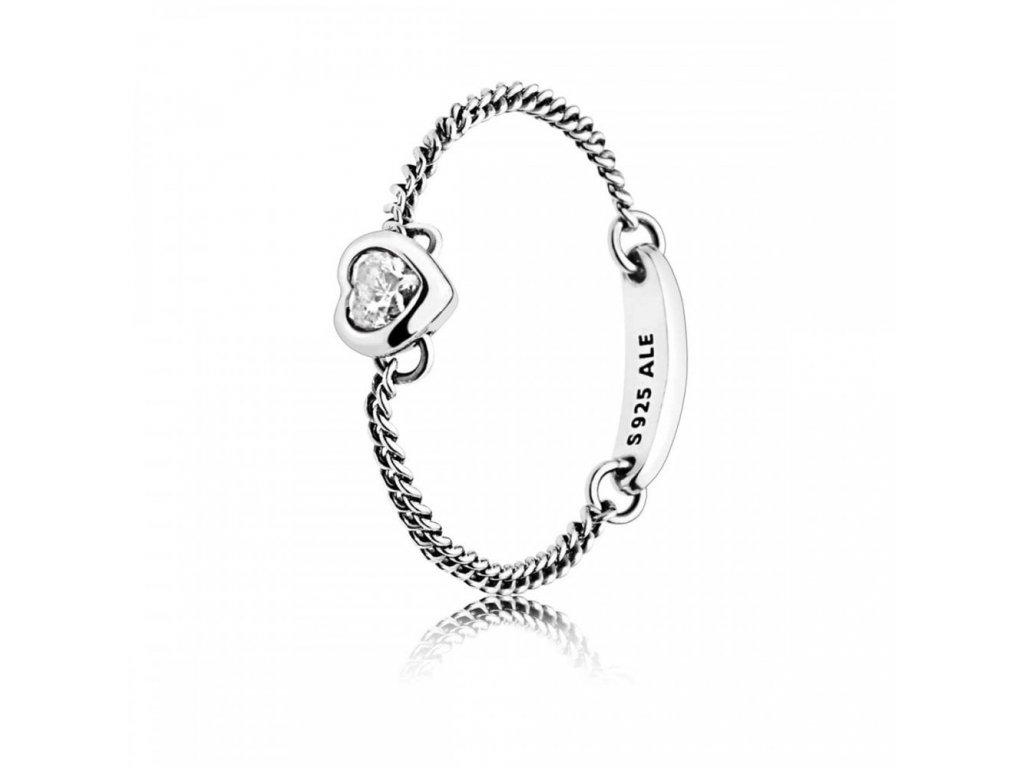Dámsky strieborný prsteň štýl Pandora retiazkový so srdiečkom (veľkosť prsteňa 52)