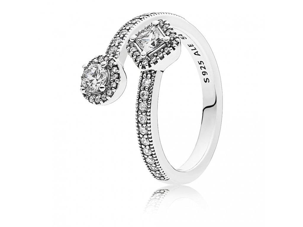 Dámsky strieborný prsteň štýl Pandora otvorený so žiariacim štvorcom a kruhom (veľkosť prsteňa 56)