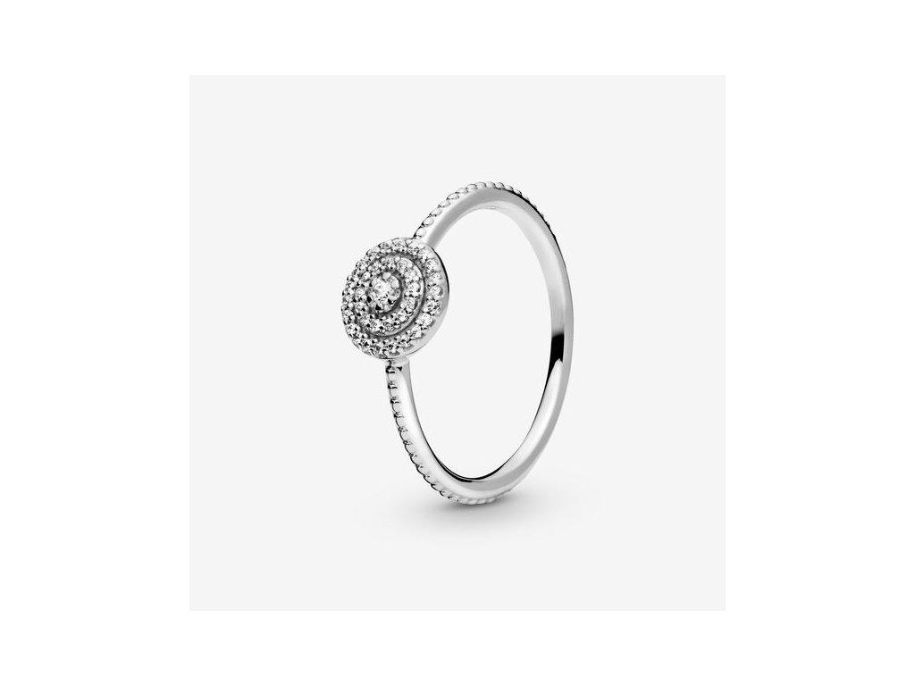 Dámsky strieborný prsteň štýl Pandora zirkónový kruh (veľkosť prsteňa 56)