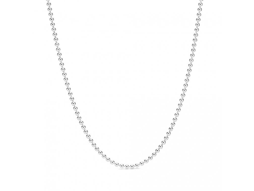 Dámsky strieborný náhrdelník štýl Pandora Essence z malých pospájaných guličiek na klip v tvare guľky (Dĺžka 60 cm)