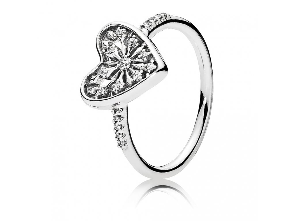 Dámsky strieborný prsteň štýl Pandora srdce zimy (veľkosť prsteňa 56)