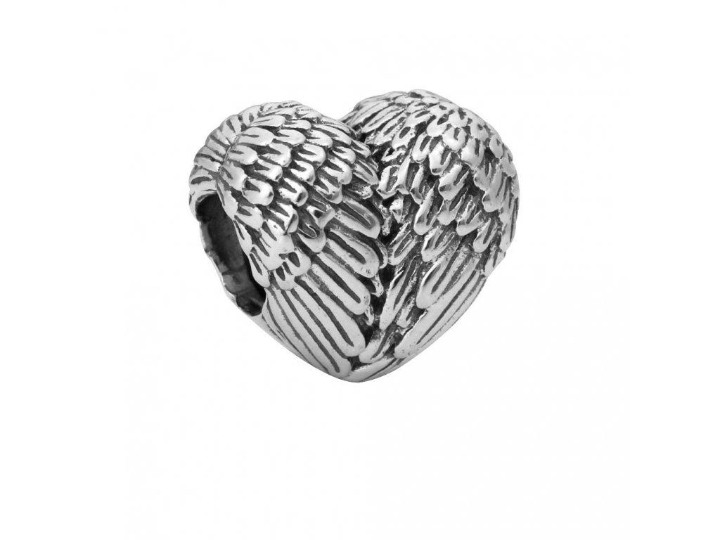 832 koralka styl pandora anjelske kridla v tvare srdca