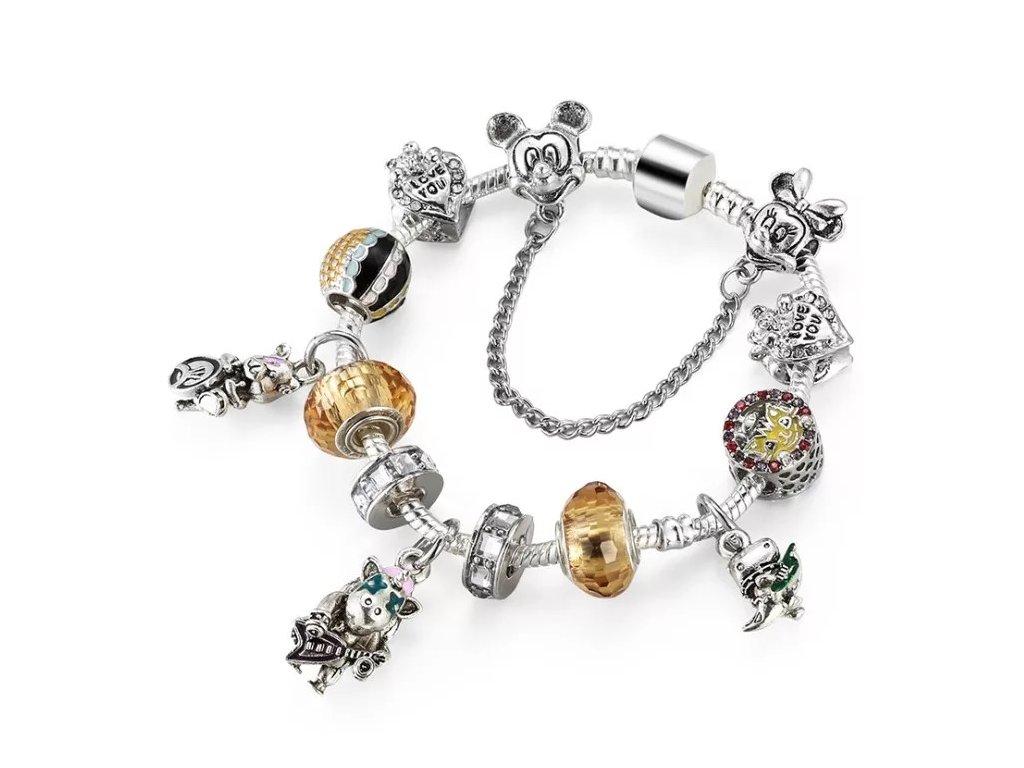 Dievčenský náramok štýl Pandora Disney zlaté korálky
