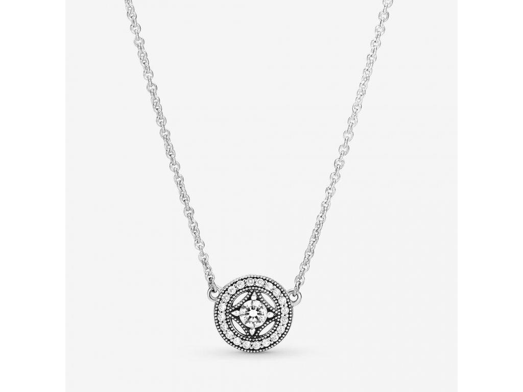 Strieborný náhrdelník štýl Pandora so zirkónovým kruhom Vintage