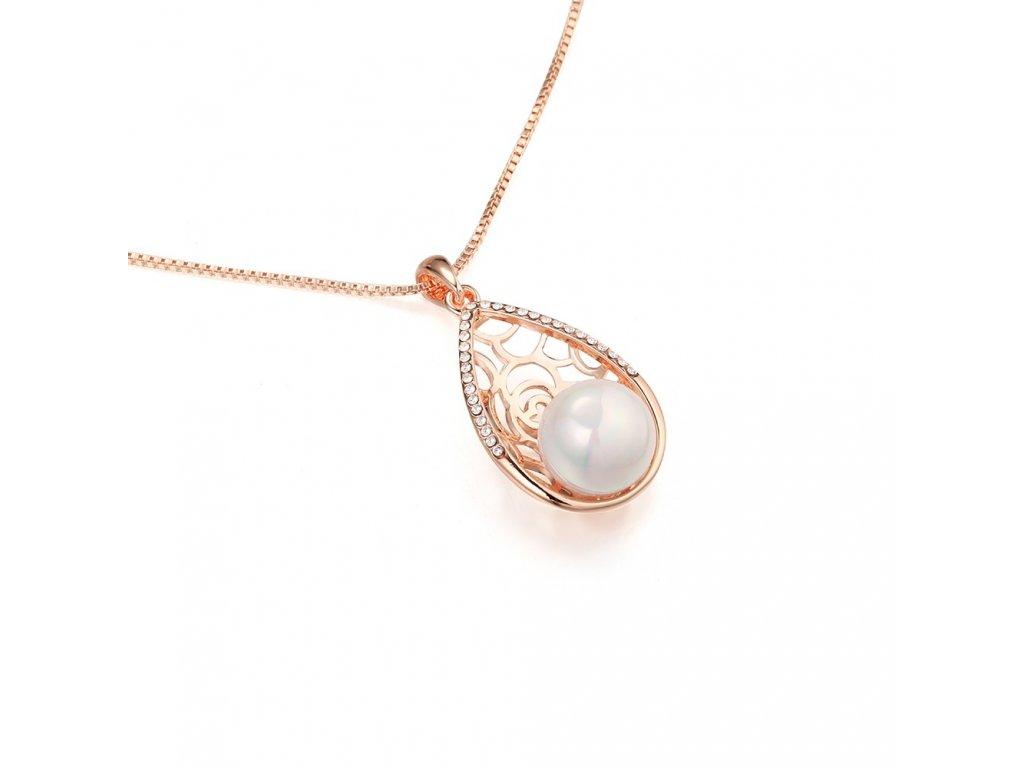 874 ruzovo zlaty perlovy set v tvare slzy