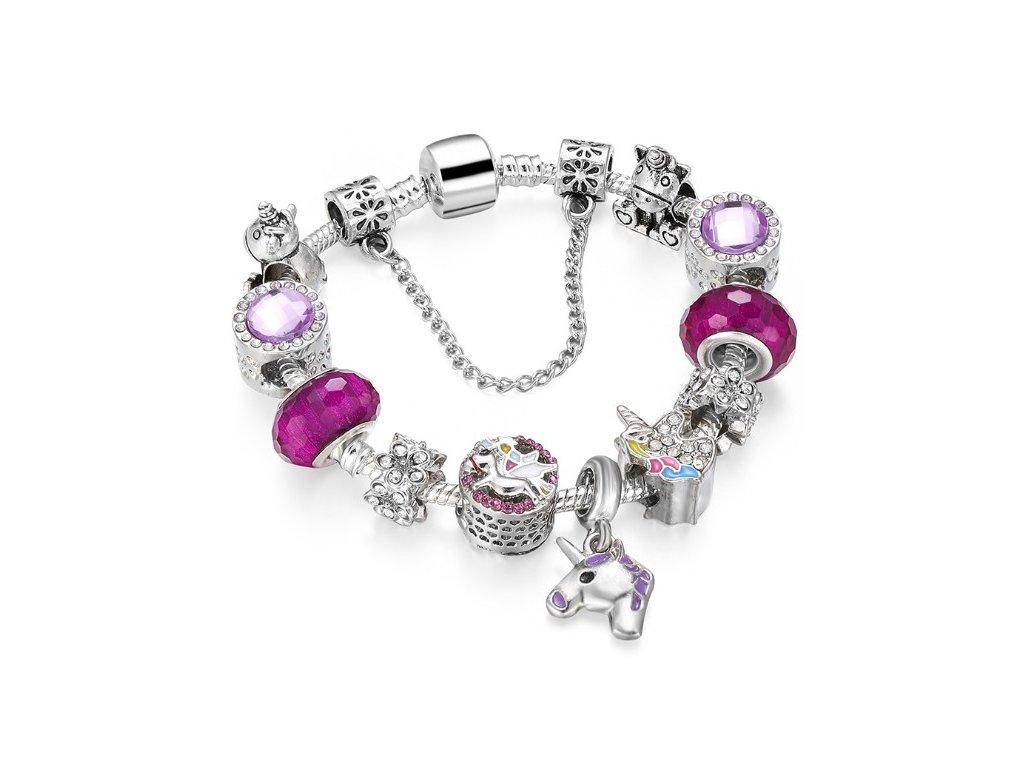 Detský dievčenský náramok štýl Pandora fialový s jednorožcom
