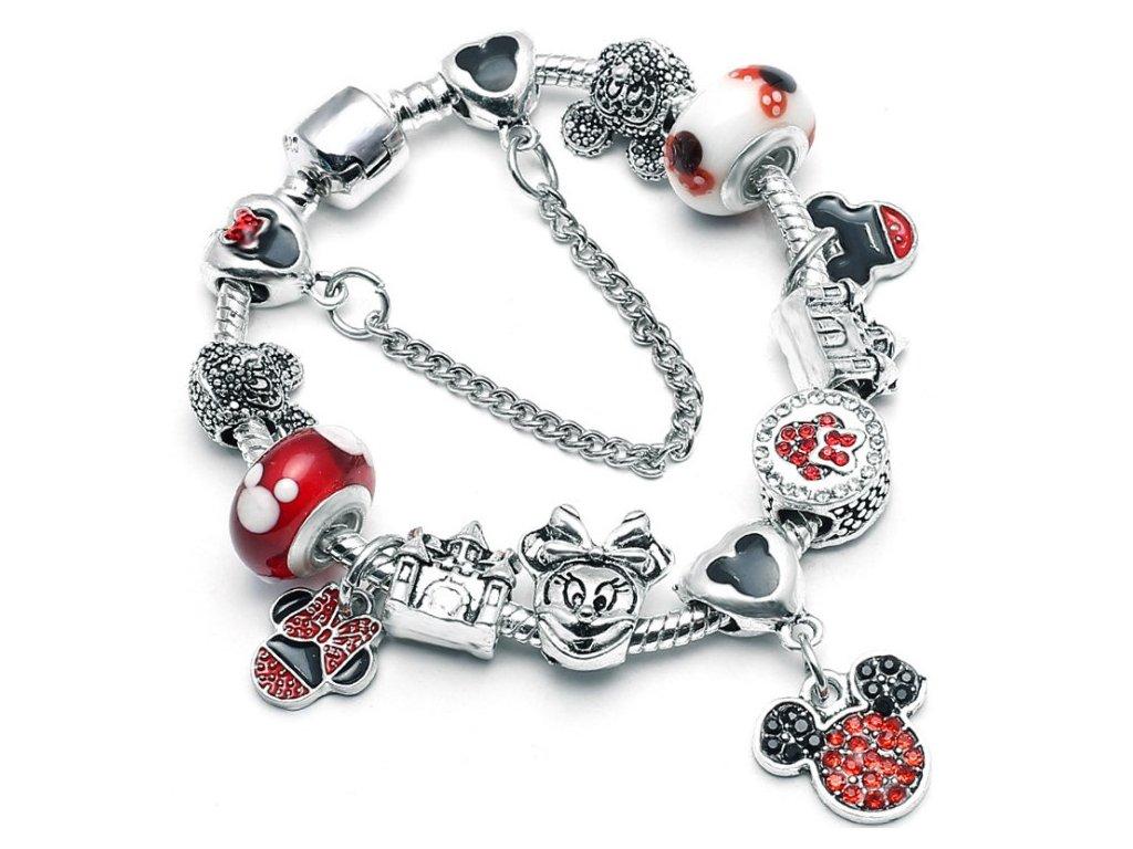 Detský dievčenský náramok štýl Pandora prívesky Mickey