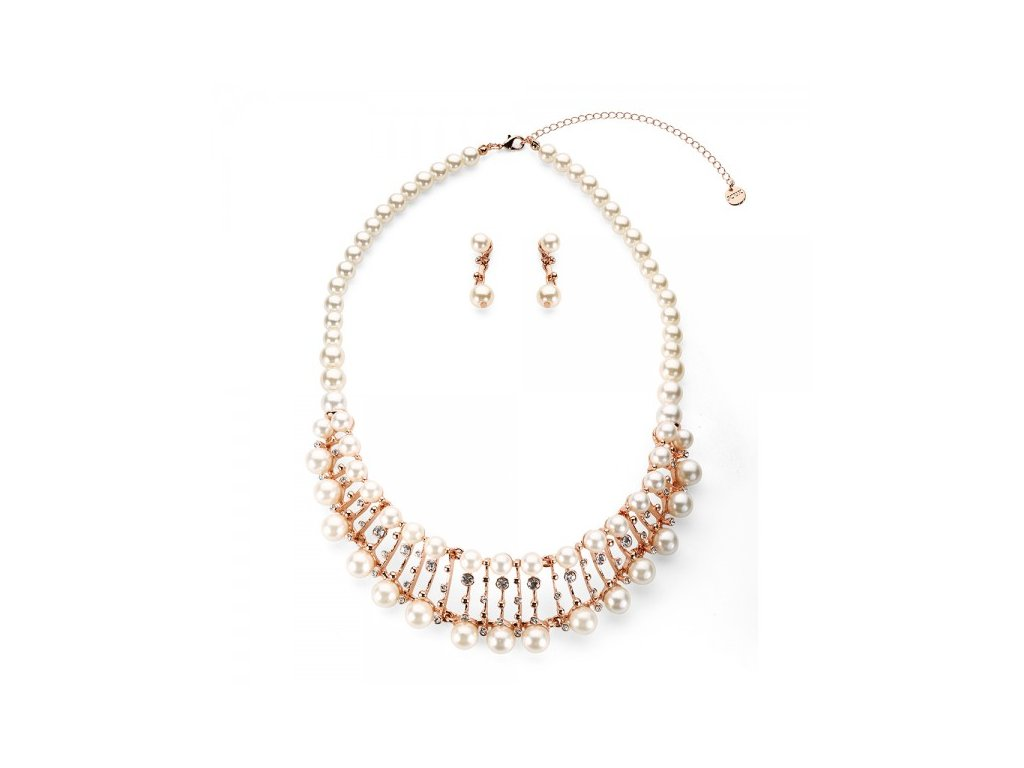 880 ruzovo zlaty perlovy set s priesvitnymi kamienkami