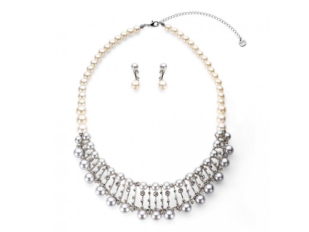 910 strieborny perlovy set zdobeny s priesvitnymi kamienkami