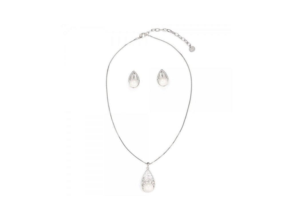 916 strieborny perlovy set v tvare slzy