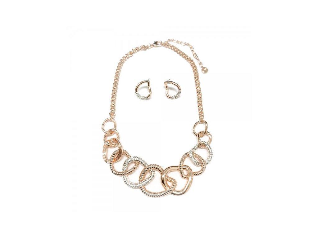 919 ruzovo zlaty set z pospajanych pokrutenych ovalov zdobeny drobnymi kamienkami
