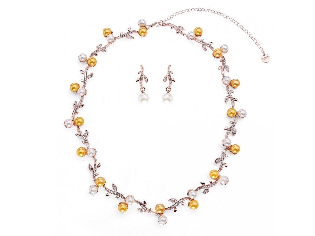 922 bielo zlty perlovy set zdobeny jemnymi kamienkami ruzove zlato