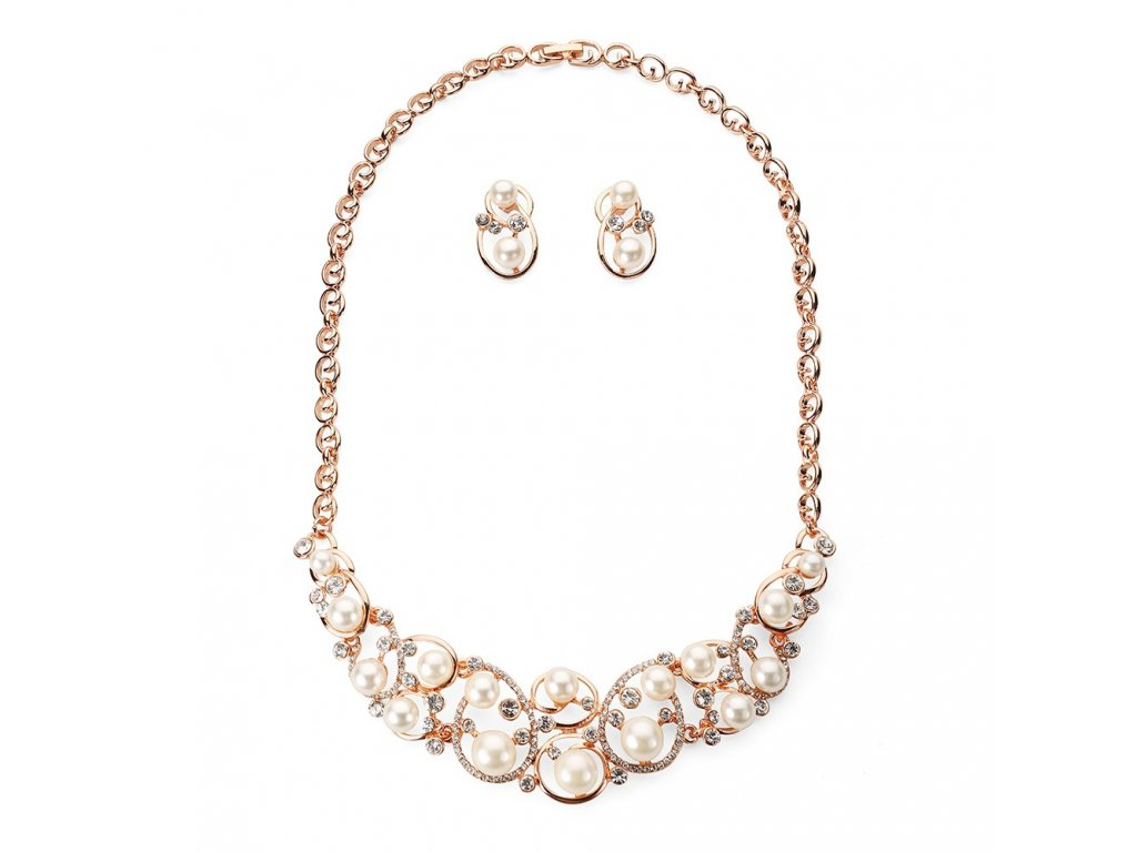 925 ruzovo zlaty perlovy set s kamienkami