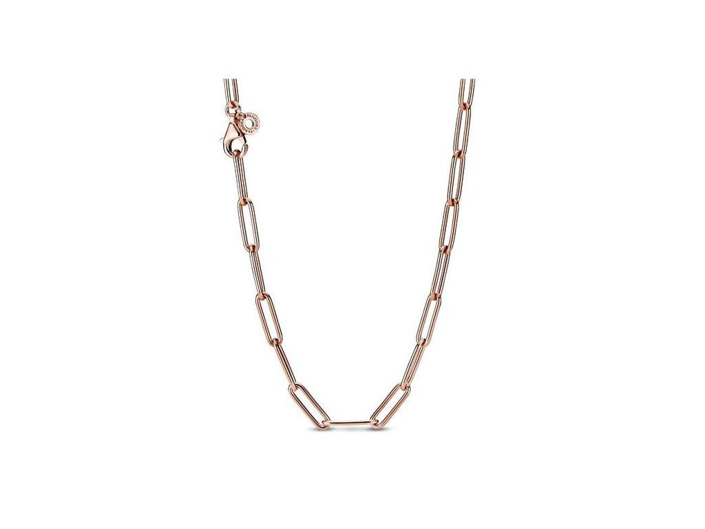 Dámsky strieborný náhrdelník štýl Pandora ružovo zlatý s klipovými očkami