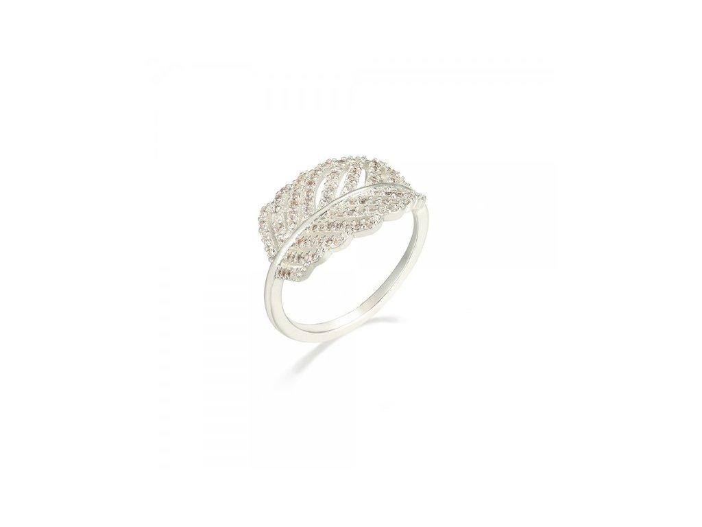 955 strieborny prsten v tvare pierka zdobeny zirkonmi