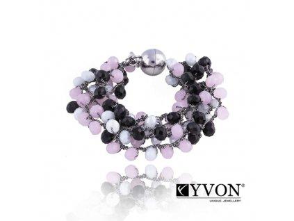 2884 krystalovy naramok v style glamour ruzovo cierny