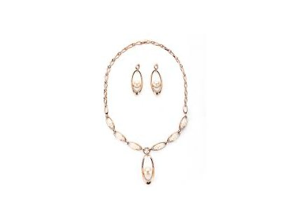 2977 luxusny set ruzovo zlaty s perlami