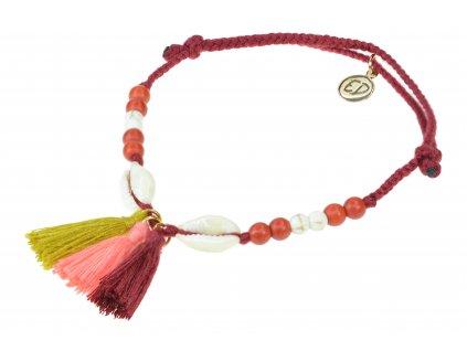 5212 damsky pleteny naramok s muslami a strapcami cerveny