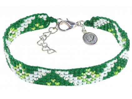 5299 damsky naramok z japonskeho rokajlu so zapinanim zeleno biely