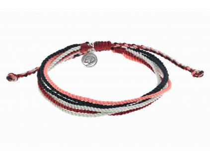 5302 unisex naramok z viacfarebnych rucne tkanych snurok cerveny