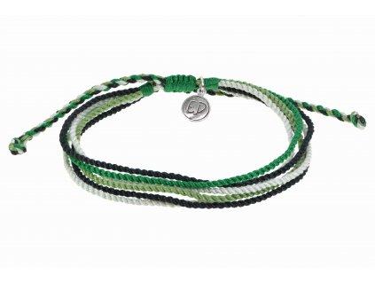 5305 unisex naramok z viacfarebnych rucne tkanych snurok zeleny