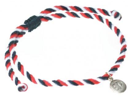 5323 pleteny naramok tridatu so striebornym priveskom s logom