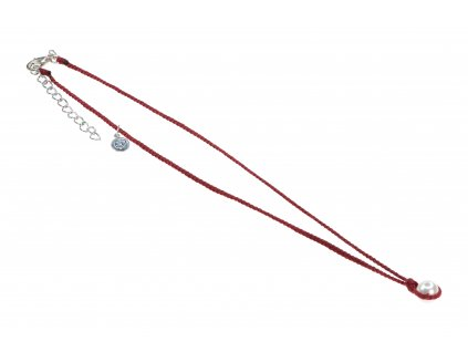 5767 damsky rucne pleteny nahrdelnik s perlou vinovy