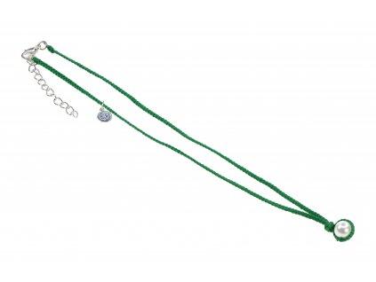 5770 damsky rucne pleteny nahrdelnik s perlou zeleny
