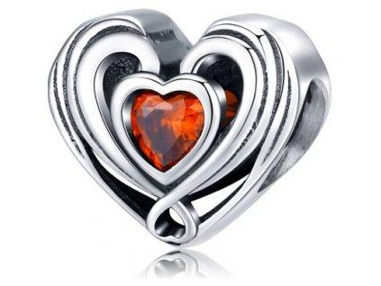 6031 strieborna 925 koralka styl pandora srdce so zirkonom