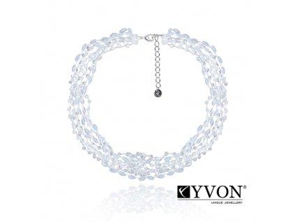 6391 2 damsky krystalovy nahrdelnik svadobny z bielych a priesvitnych krystalikov