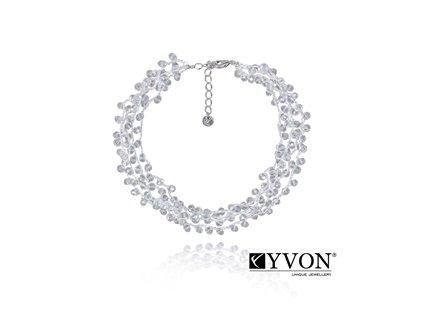 6394 2 damsky krystalovy nahrdelnik svadobny priesvitne krystaly