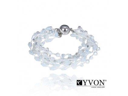 6397 2 damsky krystalovy naramok svadobny z bielych a priesvitnych krystalikov