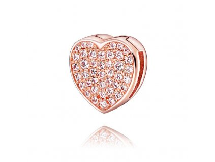 6514 1 strieborna koralka styl pandora reflexions ruzovo zlate zirkonove srdce