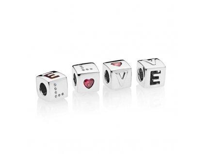 Strieborná korálka štýl Pandora kocka LOVE 1
