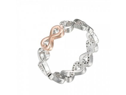 Strieborný prsteň s motívom nekonečnej lásky so zirkónmi (veľkosť prsteňa 18)