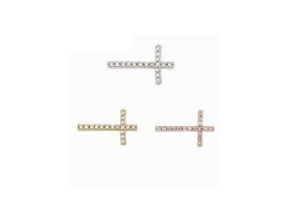 Korálka - aplikácia krížik so zirkónmi na DIY náramok (Farba strieborná)