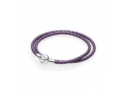 Náramok fialový koženný štýl Pandora moments jednoduchý s klipom v tvare guličky (Dĺžka 16 cm)