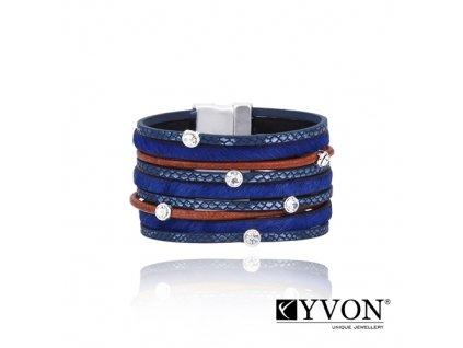 8095 damsky kozeny naramok modry s priesvitnymi kamienkami so zapinanim na magnet