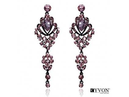 8125 visiace krystalove nausnice styl glamour ruzove