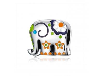 8218 strieborna koralka styl pandora pestrofarebny slonik pre stastie