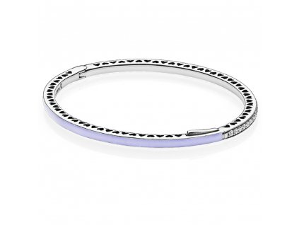 Dámsky strieborný náramok štýl Pandora hearts fialkový (Dĺžka 19 cm)