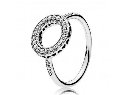 Strieborný prsteň štýl Pandora zirkónový kruh (veľkosť prsteňa 56)
