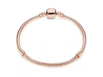 Náramok štýl Pandora ružovo - zlatý, jednoduchý  na klip v tvare guličky (Dĺžka 17 cm)