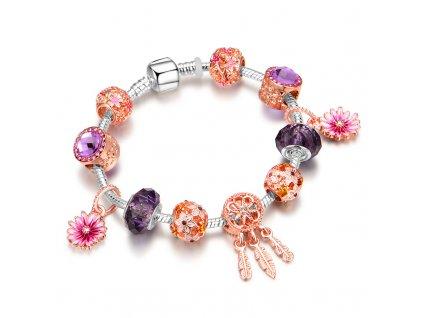 Dámsky náramok štýl Pandora s ružovými a fialovými korálkami a s príveskom lapača snov (Dĺžka 19 cm)